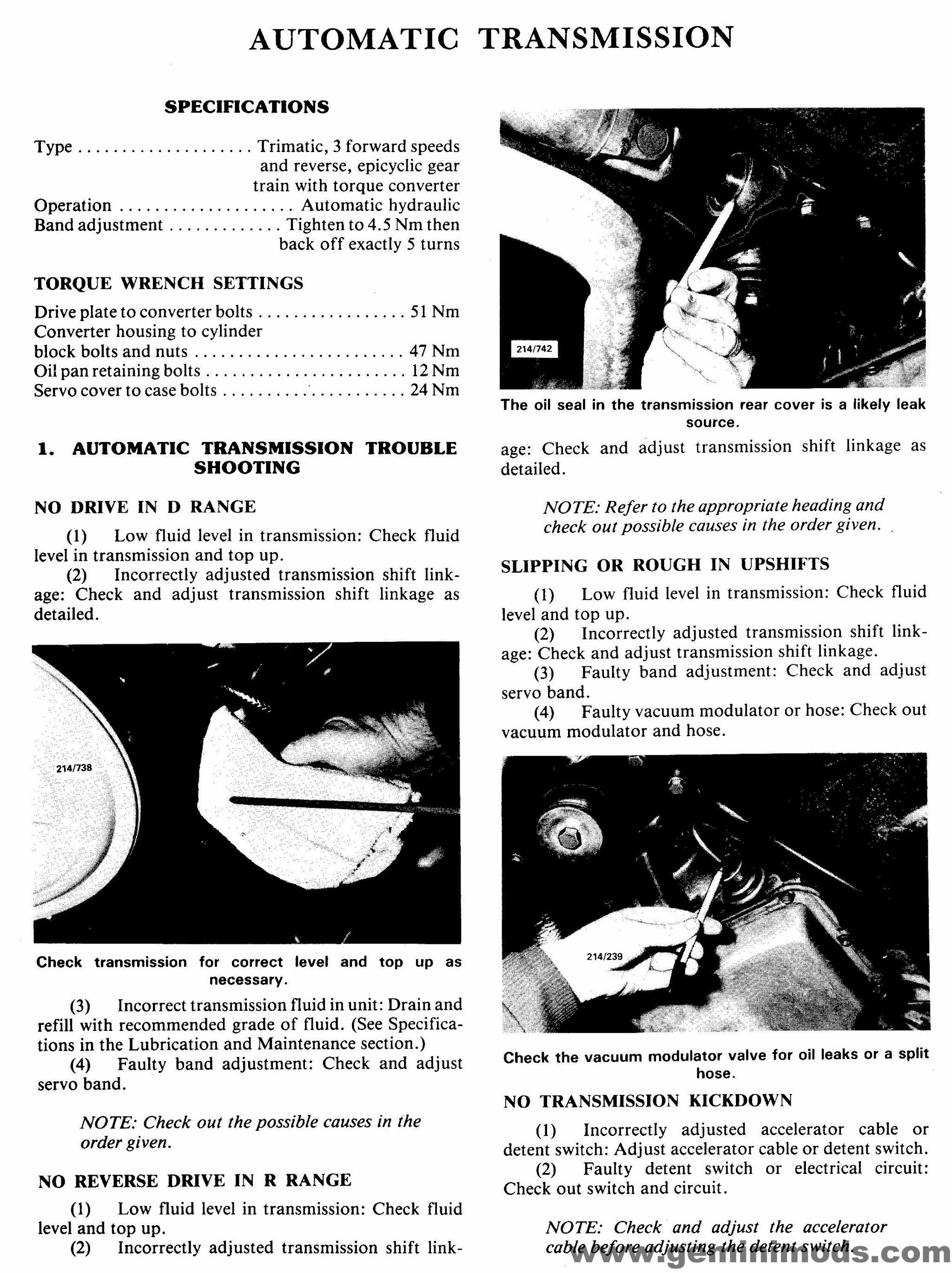 Engine/Body troubleshooting & specifications | Isuzu & Holden Gemini
